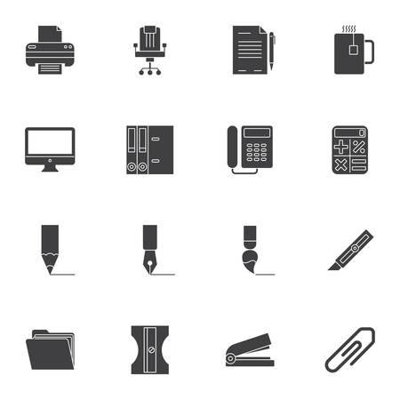 Office supplies vector icons set, modern solid symbol collection, filled style pictogram pack. Signs, illustration. Set includes icons as printer, chair, telephone fax, document folder, computer