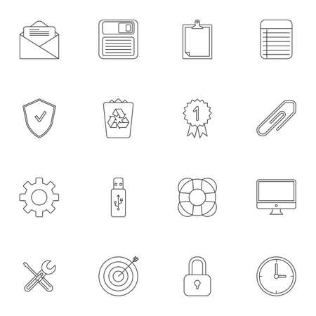 Office items line icons set. linear style symbols collection, outline signs pack. vector graphics. Set includes icons as diskette, trash bin, clock, computer monitor, guarantee certificate, to do list