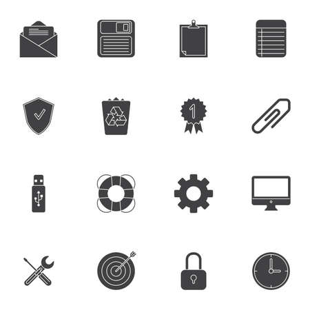 Office items vector icons set, modern solid symbol collection, filled style pictogram pack. Signs, logo illustration. Set includes icons as diskette, trash bin, clock, computer, guarantee certificate