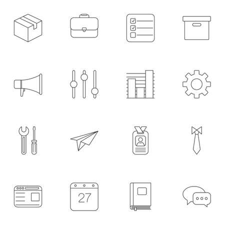 Office line icons set. linear style symbols collection, outline signs pack. vector graphics. Set includes icons as cardboard box, briefcase, badge, calendar, loudspeaker, gear, paper plane, dress code