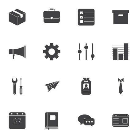 Office vector icons set, modern solid symbol collection filled style pictogram pack. Signs, logo illustration. Set includes icons as cardboard box, briefcase, badge, calendar, loudspeaker, gear, paper