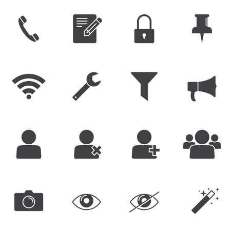 UI elements vector icons set, modern solid symbol collection, filled style pictogram pack. Signs, logo illustration. Set includes icons as user group, phone call, camera, edit document, lock, filter Çizim