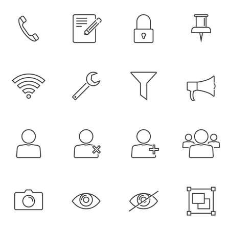UI elements line icons set. linear style symbols collection, outline signs pack. vector graphics. Set includes icons as add user group, phone call, camera, red eye function, edit document, lock, pin