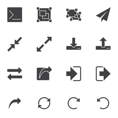 Basic UI elements vector icons set, modern solid symbol collection, filled style pictogram pack. Signs, logo illustration. Set includes icons as download, upload arrows, resize arrows, transfer file