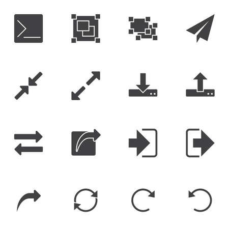 Set di icone vettoriali di elementi dell'interfaccia utente di base, raccolta di simboli solidi moderni, pacchetto di pittogrammi in stile pieno. Segni, illustrazione del logo. Il set include icone come download, frecce di caricamento, frecce di ridimensionamento, trasferimento di file Logo