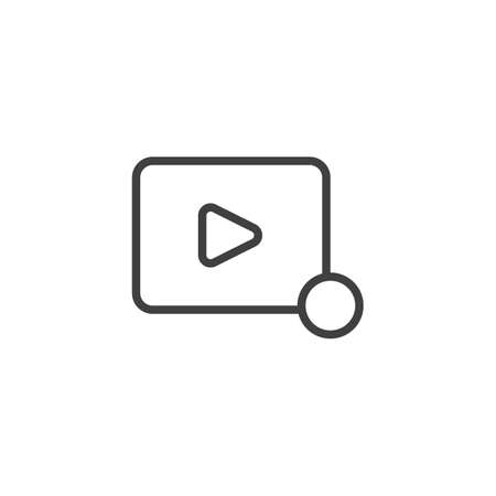 Video player notification line icon. linear style sign for mobile concept and web design. Play button notice outline vector icon. Symbol, illustration. Vector graphics