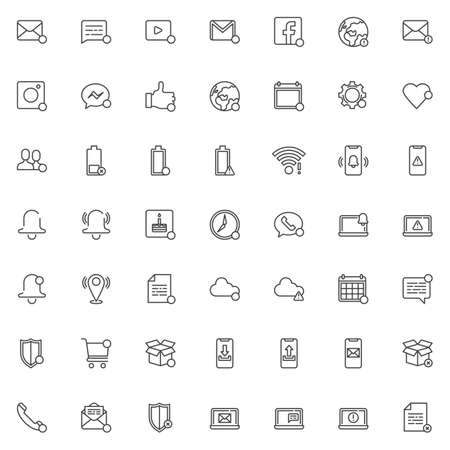 Notifications line icons set. linear style symbols collection, outline signs pack. vector graphics. Set includes icons as new message notice, phone call, calendar reminder, friend request, Low battery