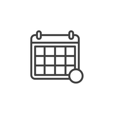 Calendar page notification line icon. linear style sign for mobile concept and web design. Calendar reminder, notice outline vector icon. Symbol, illustration. Vector graphics