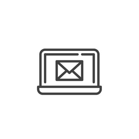 Laptop with email notification line icon. linear style sign for mobile concept and web design. Computer with envelope mail notice outline vector icon. Symbol, illustration. Vector graphics