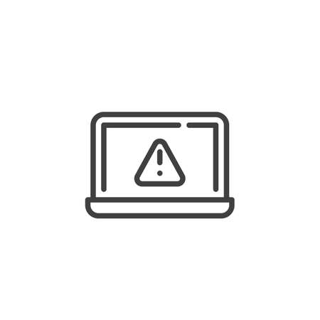 Laptop error notification line icon. linear style sign for mobile concept and web design. Notebook computer warning notice outline vector icon. Symbol, logo illustration. Vector graphics