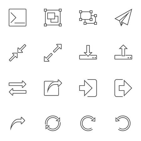 Basic UI elements line icons set. linear style symbols collection outline signs pack. vector graphics. Set includes icons as download, upload, resize arrows, transfer file, refresh arrow, message send