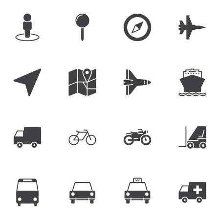 Navigation universal vector icons set, modern solid symbol collection, filled style pictogram pack. Signs, logo illustration. Set includes icons as map marker, location pin, position arrow, direction