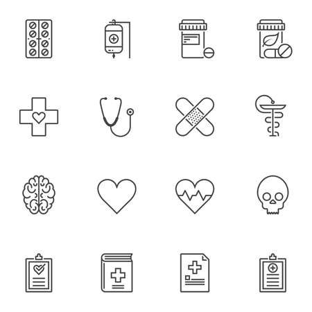 Medical equipment line icons set. linear style symbols collection, outline signs pack. vector graphics. Set includes icons as blood transfusion bag, adhesive plaster, medical records, medicine tablets