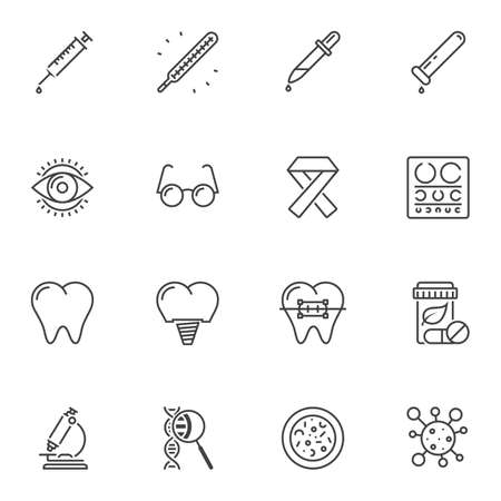 Medical universal line icons set. linear style symbols collection, outline signs pack. vector graphics. Set includes icons as syringe injection, ophthalmology, dental implant, dna molecule, microscope Çizim