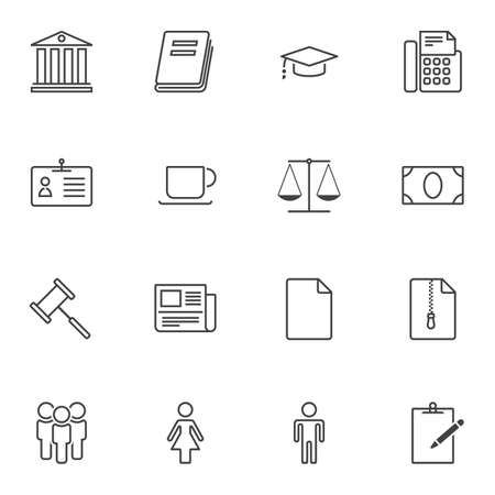 Auction universal line icons set. linear style symbols collection, outline signs pack. vector graphics. Set includes icons as courthouse building, judge gavel, scales, mallet hammer, money, newspaper