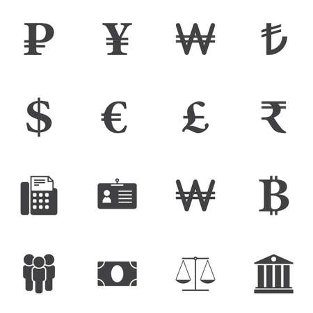 Currency money exchange vector icons set, modern solid symbol collection, filled style pictogram pack. Signs, illustration. Set includes icons as dollar rate, ruble, euro, bitcoin, scales, bank 일러스트
