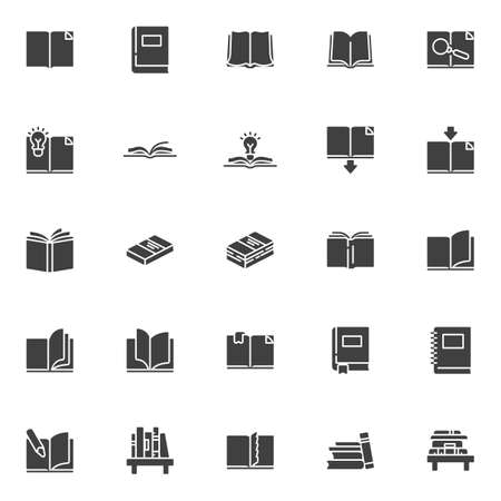 Books vector icons set, modern solid symbol collection filled style pictogram pack. Signs, logo illustration. Set includes icons as open book page with bookmark, textbook, notebook, library, bookshelf