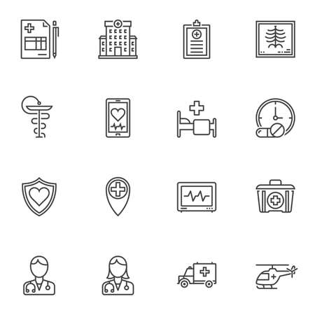 Medical line icons set. linear style symbols collection, outline signs pack. vector graphics. Set includes icons as hospital building, medicine pill, pharmacy, heartbeat rate, first aid kit, doctor