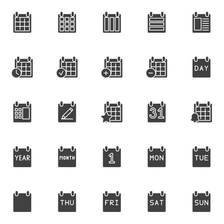 Calendar pages vector icons set, modern solid symbol collection, filled style pictogram pack. Signs, illustration. Set includes icons as day, month, week, year, date, reminder, organizer, agenda