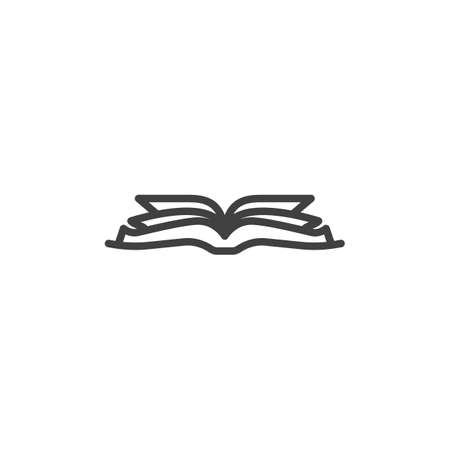 Open book line icon. linear style sign for mobile concept and web design. Book pages outline vector icon. Symbol, illustration. Vector graphics Stock Illustratie