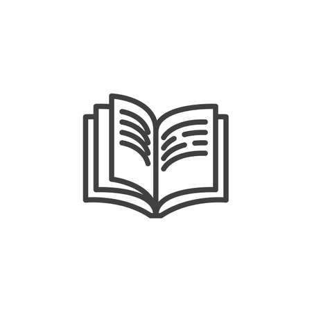 Book pages with text line icon. linear style sign for mobile concept and web design. Text book reading outline vector icon. Symbol, illustration. Vector graphics