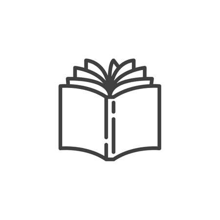 Icona della linea del libro aperto. segno di stile lineare per il concetto mobile e il web design. Le pagine del libro girano l'icona del vettore di contorno. Simbolo della libreria, illustrazione. Grafica vettoriale