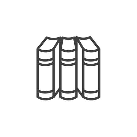 Three books line icon. linear style sign for mobile concept and web design. Three volumes books outline vector icon. Symbol, illustration. Vector graphics  イラスト・ベクター素材