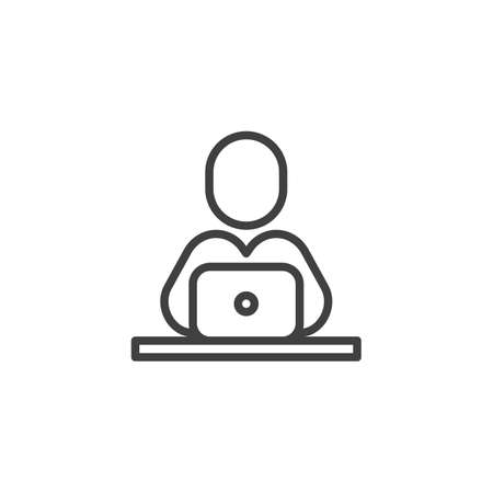 Student studying at laptop line icon. linear style sign for mobile concept and web design. Man with notebook computer outline vector icon. e learning symbol, illustration. Vector graphics