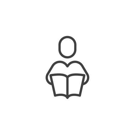 Reading Book line icon. linear style sign for mobile concept and web design. Man with book outline vector icon. Knowledge symbol, illustration. Vector graphics Stock Illustratie