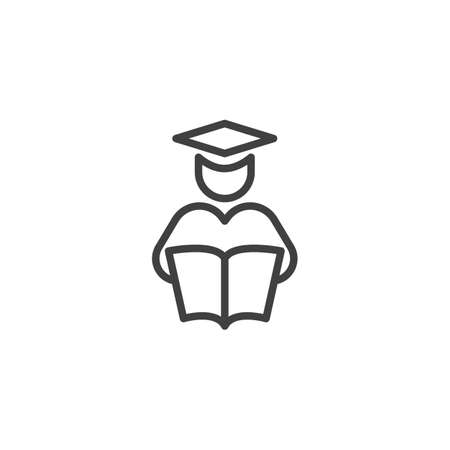 Student reading book line icon. linear style sign for mobile concept and web design. Graduate man with book outline vector icon. Education symbol, illustration. Vector graphics Stock Illustratie