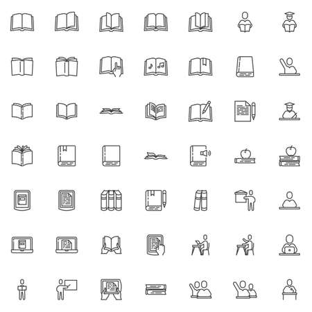 Books and education line icons set. linear style symbols collection outline signs pack. vector graphics. Set includes icons as pupils, student, teacher, ebook reader device, open book pages, knowledge Illustration