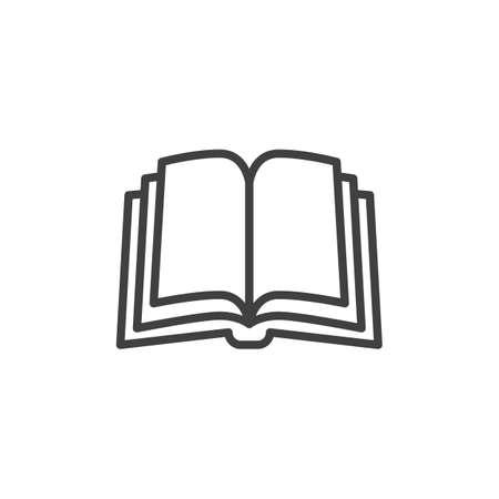 Buchseiten-Liniensymbol. Lineares Zeichen für mobiles Konzept und Webdesign. Buchumriss-Vektorsymbol öffnen