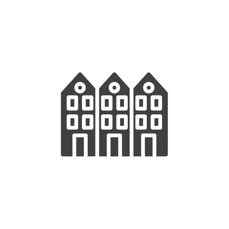 Neighborhood house vector icon. filled flat sign for mobile concept and web design. Three house buildings glyph icon