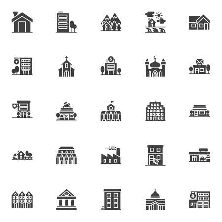Buildings vector icons set, modern solid symbol collection filled style pictogram pack. Signs, illustration. Set includes icons as home, house, fire station building, police building, post office Illustration