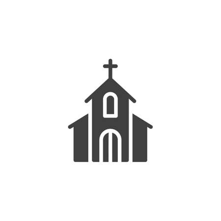Church with holy cross vector icon. filled flat sign for mobile concept and web design. Church building glyph icon. Symbol, illustration. Vector graphics