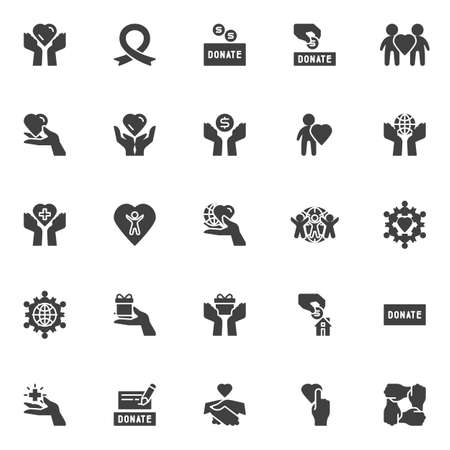 Charity vector icons set, modern solid symbol collection, filled style pictogram pack. Signs, illustration. Set includes icons as donate box, money donation hand, awareness ribbon, humanity
