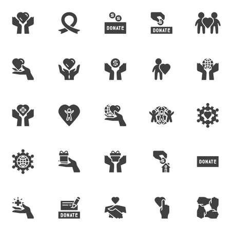 Set di icone vettoriali di beneficenza, raccolta di simboli solidi moderni, pacchetto di pittogrammi in stile pieno. Segni, illustrazione. Il set include icone come scatola delle donazioni, mano per la donazione di denaro, nastro di sensibilizzazione, umanità