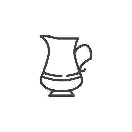 Milk jug line icon. Coffee pot linear style sign for mobile concept and web design. milk pitcher outline vector icon. Symbol, logo illustration. Vector graphics Çizim