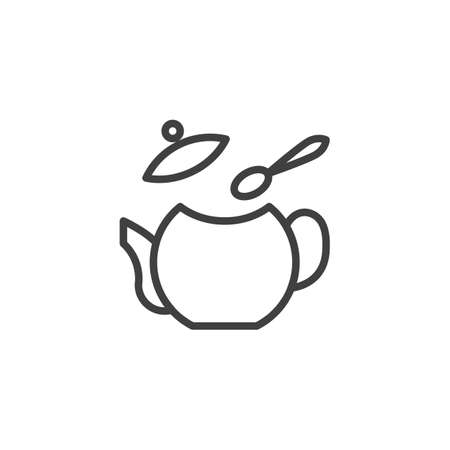 Tea brewing instruction line icon. linear style sign for mobile concept and web design. Teapot and spoon outline vector icon. Tea ceremony symbol, illustration. Vector graphics Ilustração