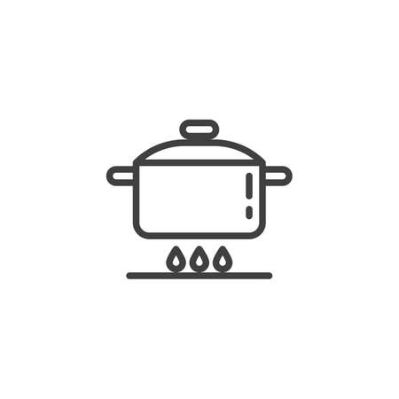 Cooking instruction line icon. Food preparation linear style sign for mobile concept and web design. Pan on gas stove outline vector icon. Symbol, illustration. Vector graphics