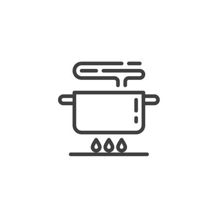 Boiling pot on gas stove line icon. Food preparation linear style sign for mobile concept and web design. Cooking instruction outline vector icon. Symbol, illustration. Vector graphics