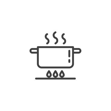 Pan on gas stove line icon. Cooking instruction linear style sign for mobile concept and web design. Boiling saucepan on fire outline vector icon. Symbol, illustration. Vector graphics Ilustração