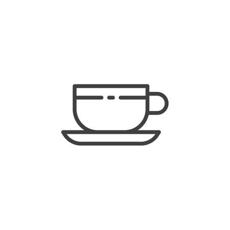 Tea cup line icon. Coffee linear style sign for mobile concept and web design. Cup, saucer outline vector icon. Symbol, illustration. Vector graphics