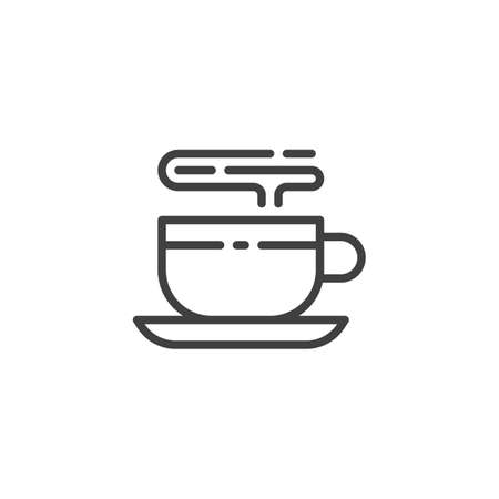 Hot coffee cup line icon. linear style sign for mobile concept and web design. Cup of tea outline vector icon. Coffee break symbol, illustration. Vector graphics