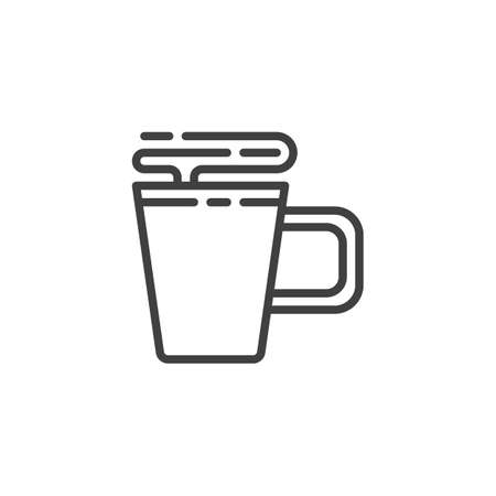 Hot coffee mug line icon. linear style sign for mobile concept and web design. Aroma tea cup outline vector icon. Symbol, illustration. Vector graphics