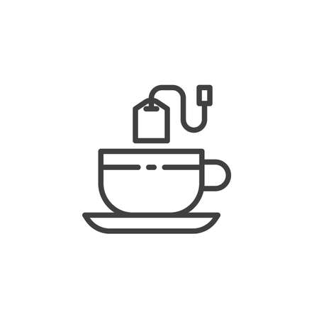 Tea cup with tea bag line icon. linear style sign for mobile concept and web design. Green tea outline vector icon. Symbol, illustration. Vector graphics