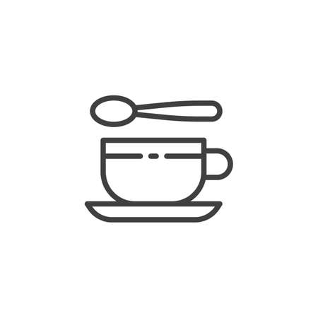 Tea cup and spoon line icon. linear style sign for mobile concept and web design. Teaspoon and cup with saucer outline vector icon. Symbol, illustration. Vector graphics Ilustração