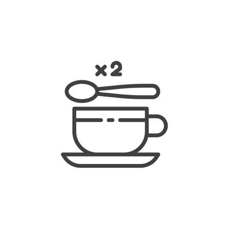 Tea cup with two spoon of sugar line icon. linear style sign for mobile concept and web design. 2 sugar spoon and coffee cup outline vector icon. Symbol, illustration. Vector graphics
