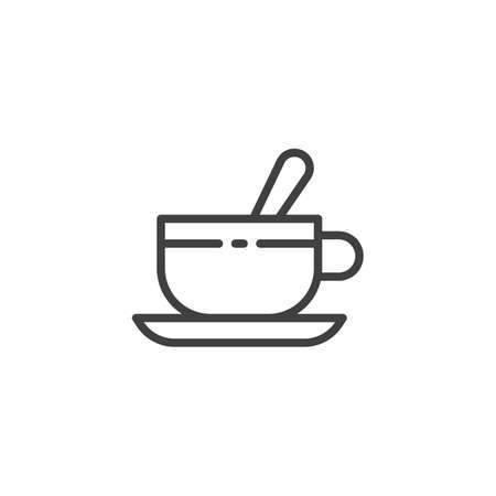 Tea cup with teaspoon and saucer line icon. linear style sign for mobile concept and web design. Cup of coffee outline vector icon. Symbol, illustration. Vector graphics Ilustração
