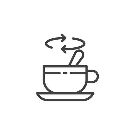 Tea stirring with spoon line icon. linear style sign for mobile concept and web design. Cup of tea with spoon stir sugar outline vector icon. Symbol, illustration. Vector graphics